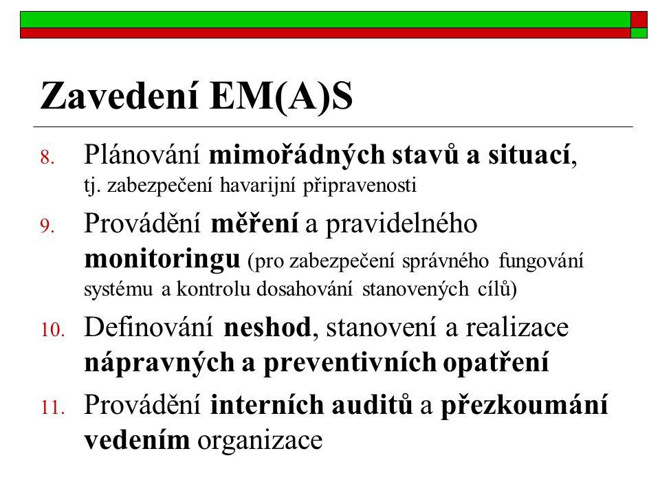 Zavedení EM(A)S 8. Plánování mimořádných stavů a situací, tj. zabezpečení havarijní připravenosti 9. Provádění měření a pravidelného monitoringu (pro