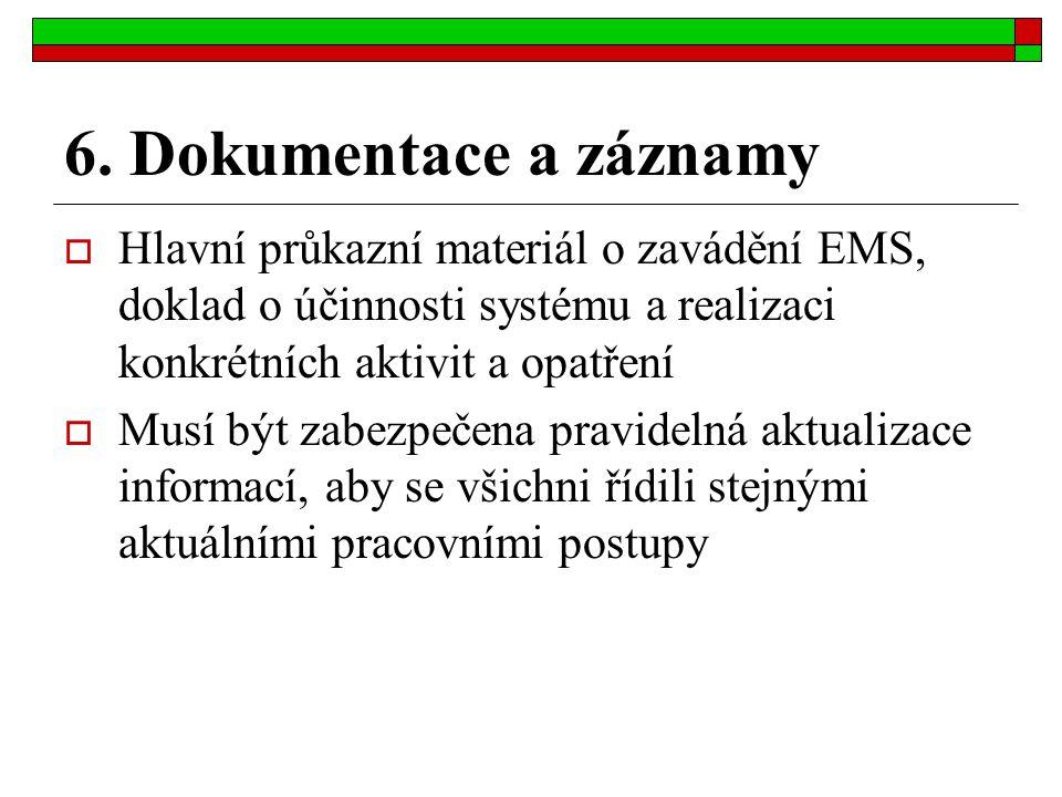 6. Dokumentace a záznamy  Hlavní průkazní materiál o zavádění EMS, doklad o účinnosti systému a realizaci konkrétních aktivit a opatření  Musí být z