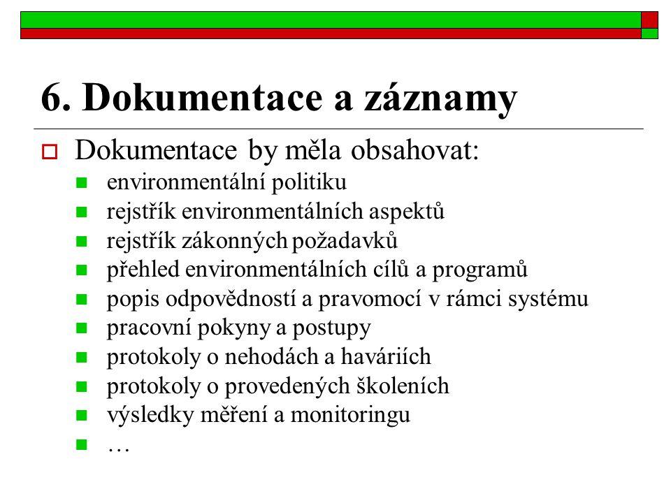 6. Dokumentace a záznamy  Dokumentace by měla obsahovat: environmentální politiku rejstřík environmentálních aspektů rejstřík zákonných požadavků pře