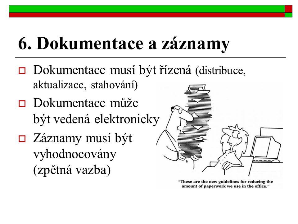6. Dokumentace a záznamy  Dokumentace musí být řízená (distribuce, aktualizace, stahování)  Dokumentace může být vedená elektronicky  Záznamy musí