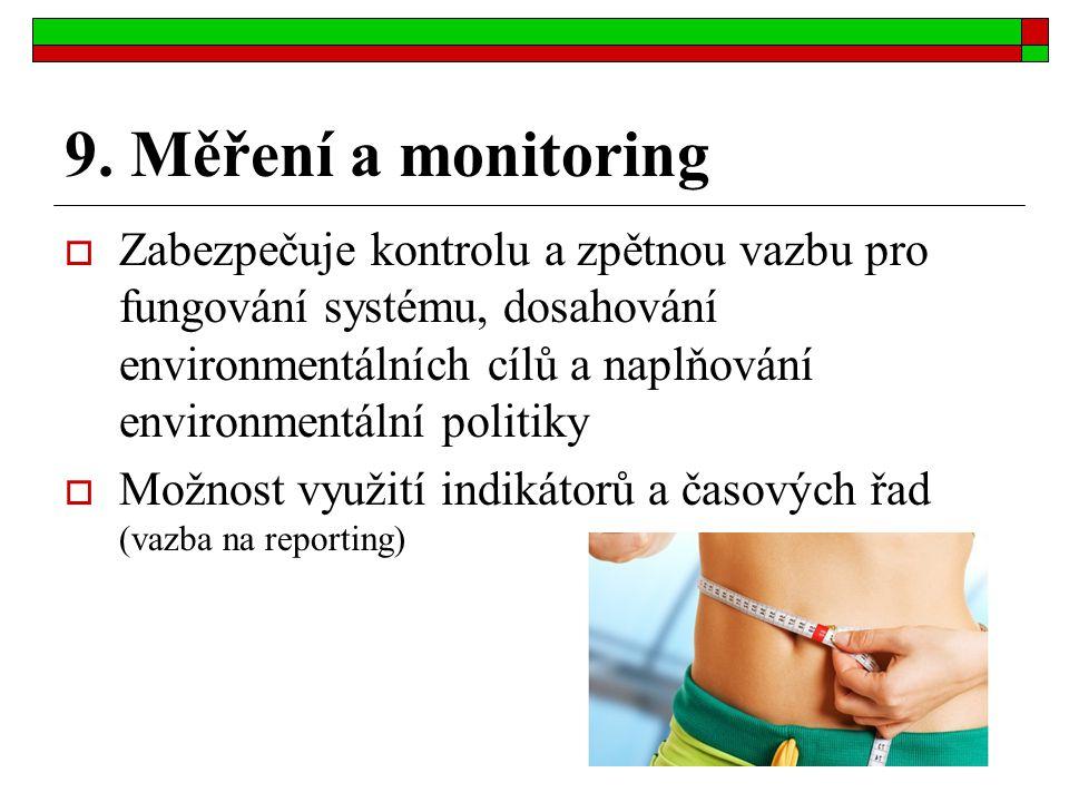 9. Měření a monitoring  Zabezpečuje kontrolu a zpětnou vazbu pro fungování systému, dosahování environmentálních cílů a naplňování environmentální po