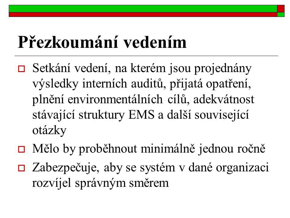 Přezkoumání vedením  Setkání vedení, na kterém jsou projednány výsledky interních auditů, přijatá opatření, plnění environmentálních cílů, adekvátnos