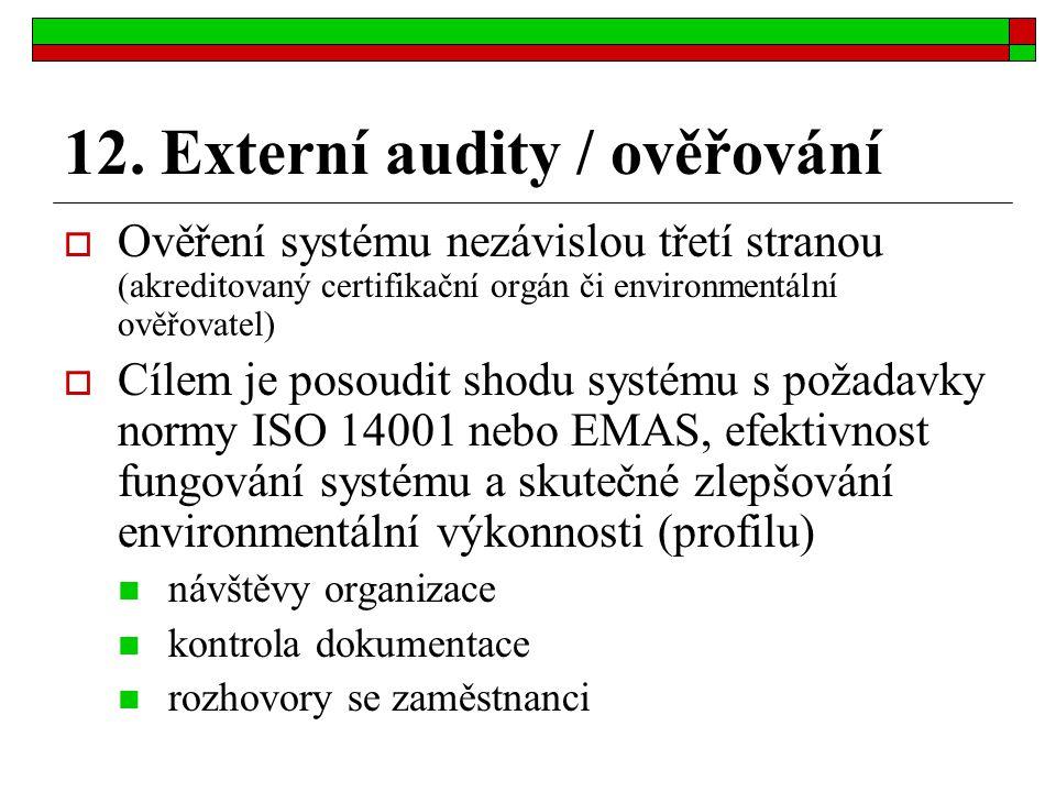 12. Externí audity / ověřování  Ověření systému nezávislou třetí stranou (akreditovaný certifikační orgán či environmentální ověřovatel)  Cílem je p