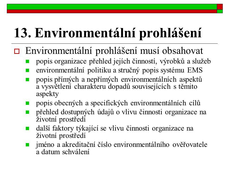 13. Environmentální prohlášení  Environmentální prohlášení musí obsahovat popis organizace přehled jejích činností, výrobků a služeb environmentální