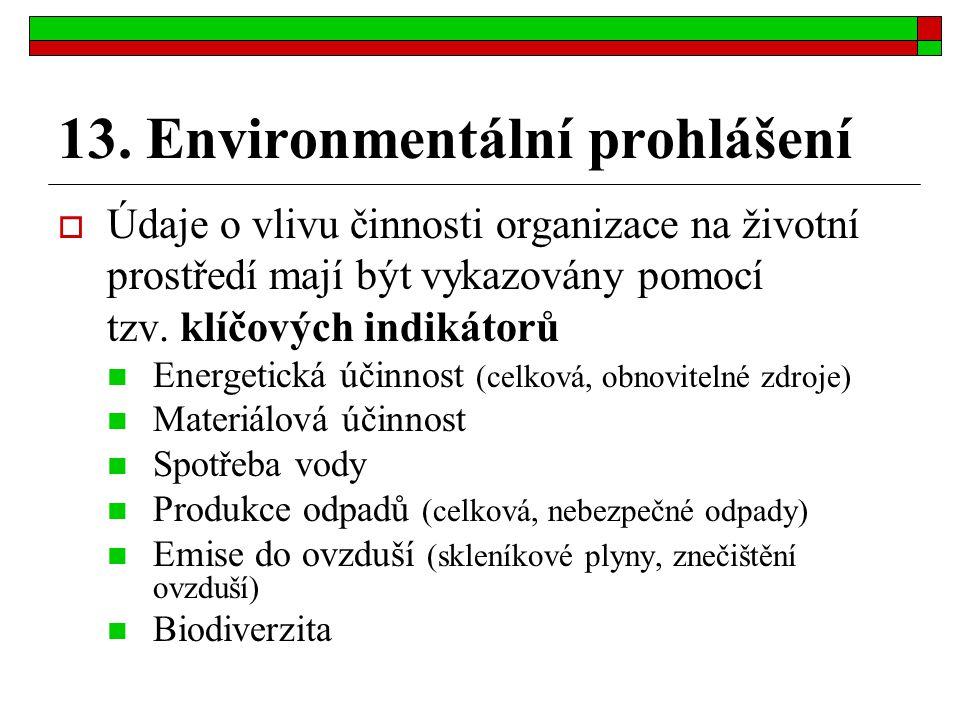 13. Environmentální prohlášení  Údaje o vlivu činnosti organizace na životní prostředí mají být vykazovány pomocí tzv. klíčových indikátorů Energetic