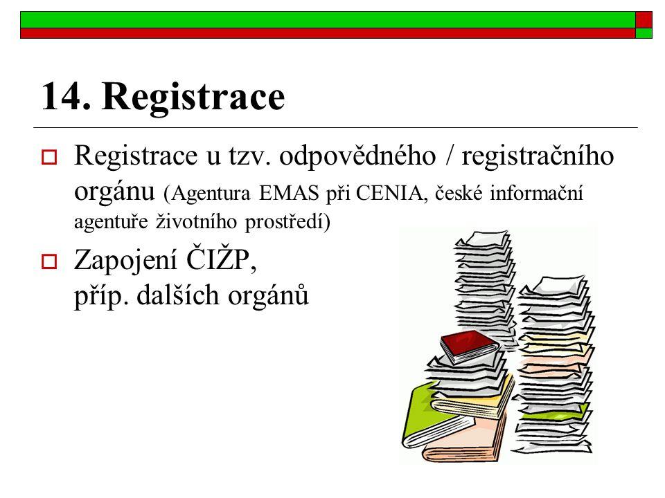 14. Registrace  Registrace u tzv. odpovědného / registračního orgánu (Agentura EMAS při CENIA, české informační agentuře životního prostředí)  Zapoj