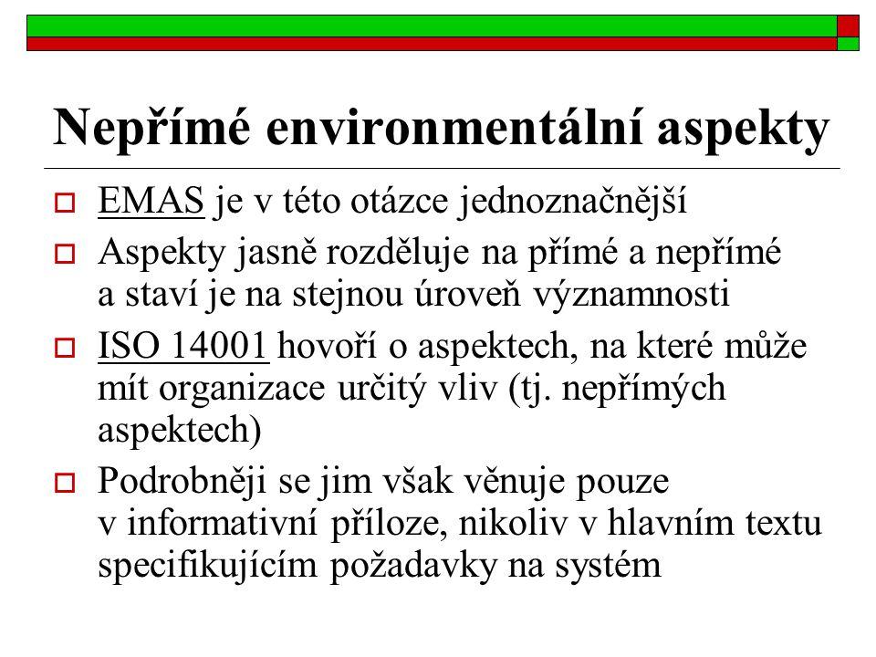 Nepřímé environmentální aspekty  EMAS je v této otázce jednoznačnější  Aspekty jasně rozděluje na přímé a nepřímé a staví je na stejnou úroveň význa