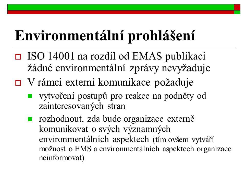 Environmentální prohlášení  ISO 14001 na rozdíl od EMAS publikaci žádné environmentální zprávy nevyžaduje  V rámci externí komunikace požaduje vytvo