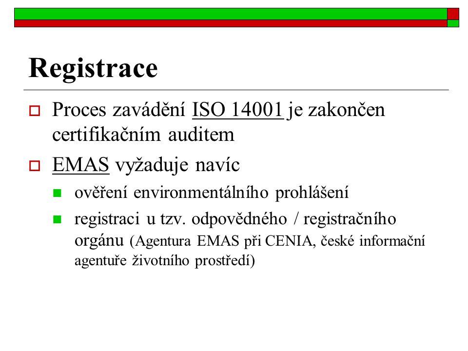 Registrace  Proces zavádění ISO 14001 je zakončen certifikačním auditem  EMAS vyžaduje navíc ověření environmentálního prohlášení registraci u tzv.