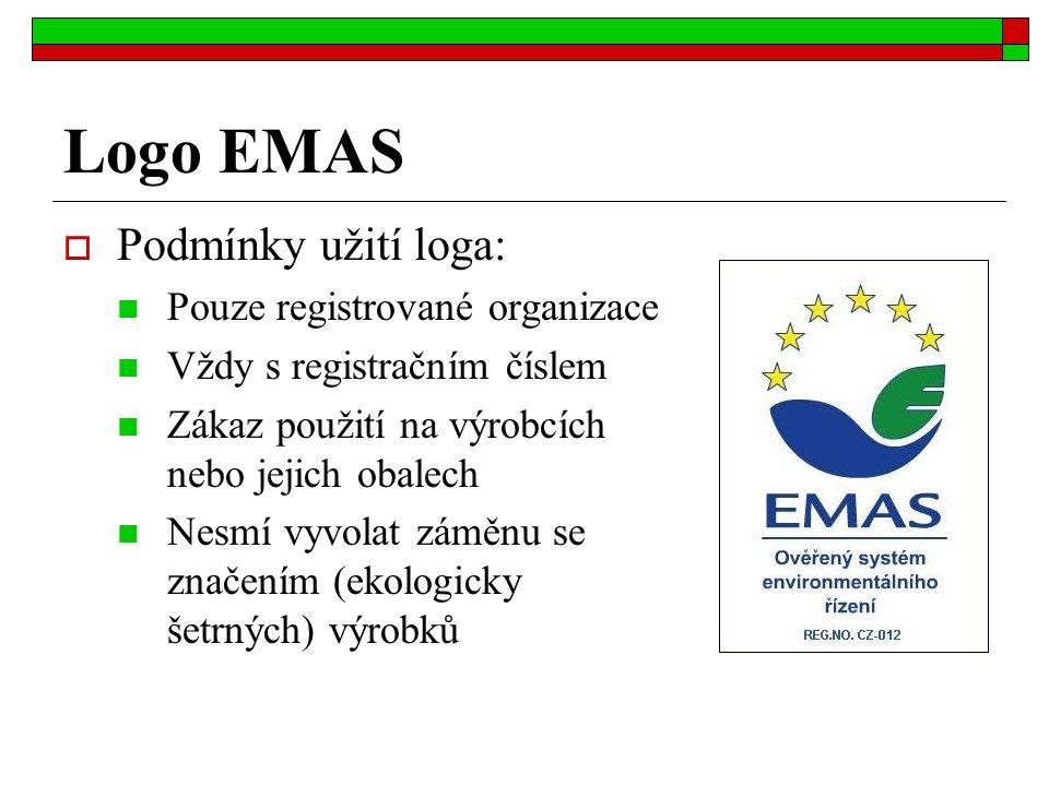 Logo EMAS  Podmínky užití loga: Pouze registrované organizace Vždy s registračním číslem Zákaz použití na výrobcích nebo jejich obalech Nesmí vyvolat