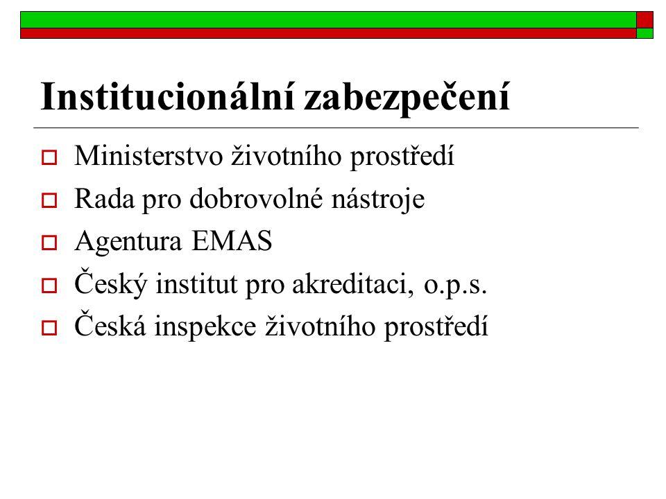 Institucionální zabezpečení  Ministerstvo životního prostředí  Rada pro dobrovolné nástroje  Agentura EMAS  Český institut pro akreditaci, o.p.s.