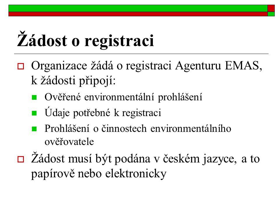Žádost o registraci  Organizace žádá o registraci Agenturu EMAS, k žádosti připojí: Ověřené environmentální prohlášení Údaje potřebné k registraci Pr