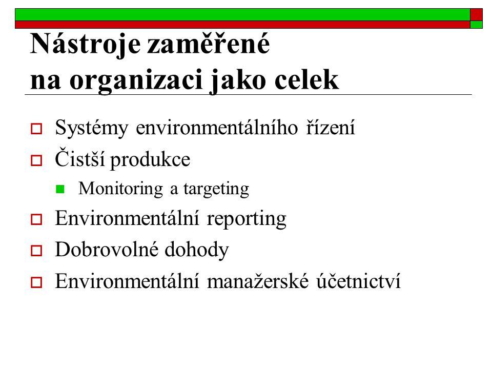 Nástroje zaměřené na organizaci jako celek  Systémy environmentálního řízení  Čistší produkce Monitoring a targeting  Environmentální reporting  D
