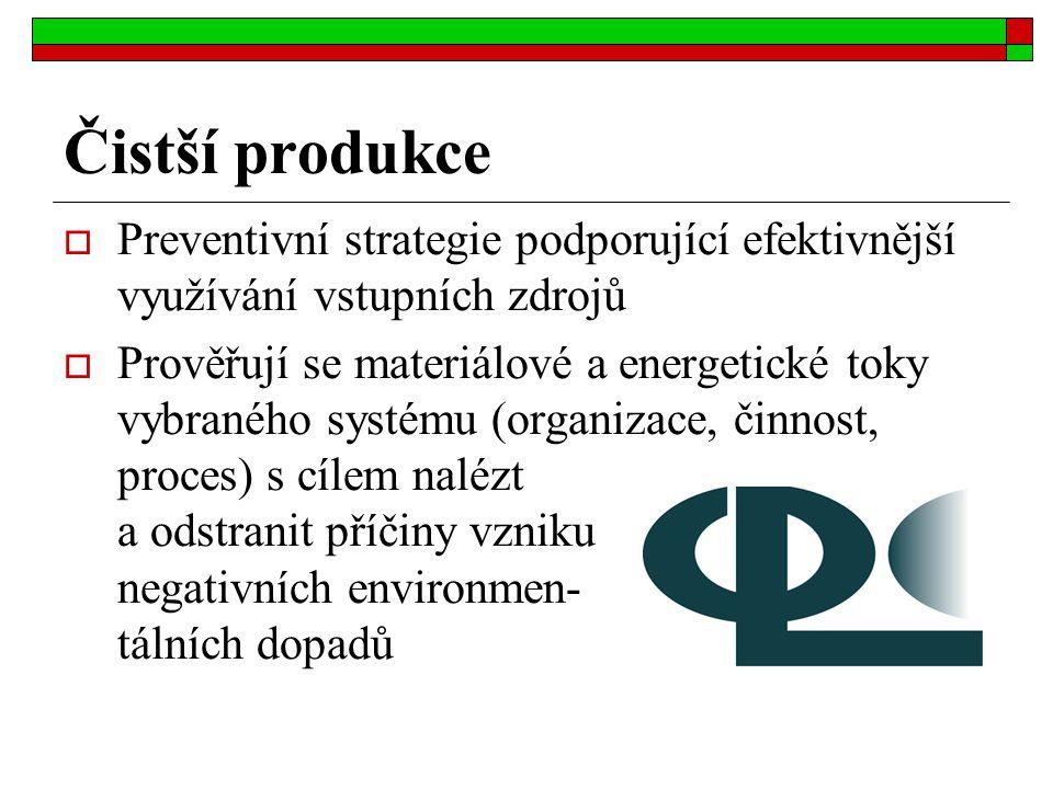 Čistší produkce  Preventivní strategie podporující efektivnější využívání vstupních zdrojů  Prověřují se materiálové a energetické toky vybraného sy