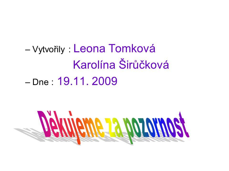 –Vytvořily : Leona Tomková Karolína Širůčková –Dne : 19.11. 2009