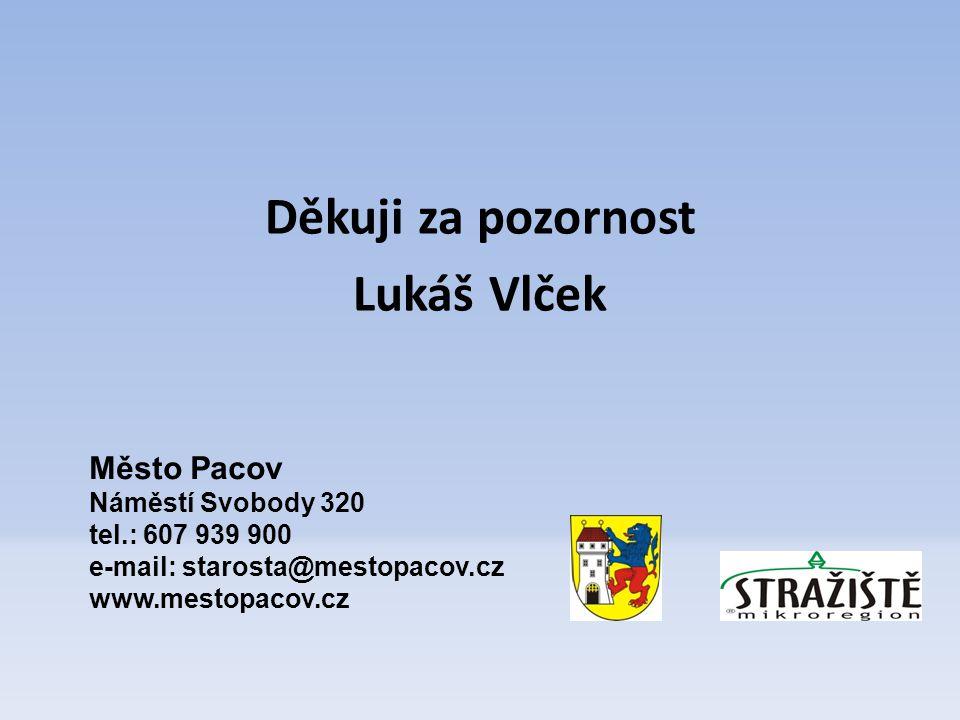 Děkuji za pozornost Lukáš Vlček Město Pacov Náměstí Svobody 320 tel.: 607 939 900 e-mail: starosta@mestopacov.cz www.mestopacov.cz