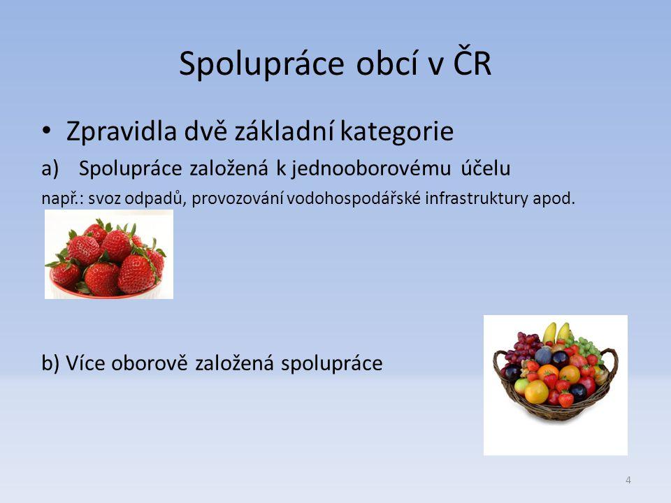 Spolupráce obcí v ČR Zpravidla dvě základní kategorie a)Spolupráce založená k jednooborovému účelu např.: svoz odpadů, provozování vodohospodářské infrastruktury apod.