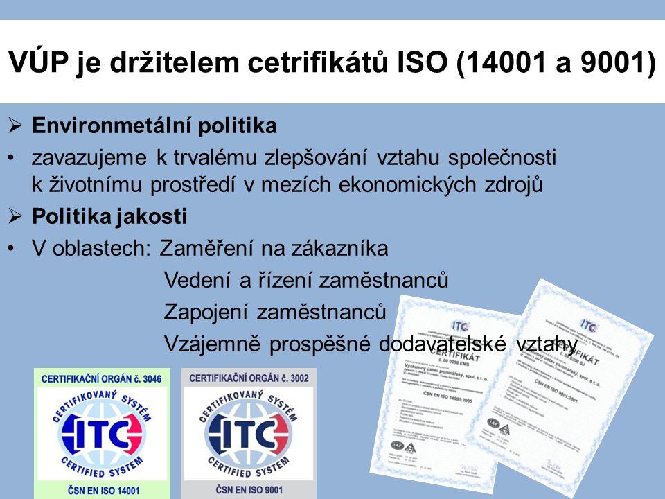 VÚP je držitelem cetrifikátů ISO (14001 a 9001)  Environmetální politika zavazujeme k trvalému zlepšování vztahu společnosti k životnímu prostředí v mezích ekonomických zdrojů  Politika jakosti V oblastech: Zaměření na zákazníka Vedení a řízení zaměstnanců Zapojení zaměstnanců Vzájemně prospěšné dodavatelské vztahy