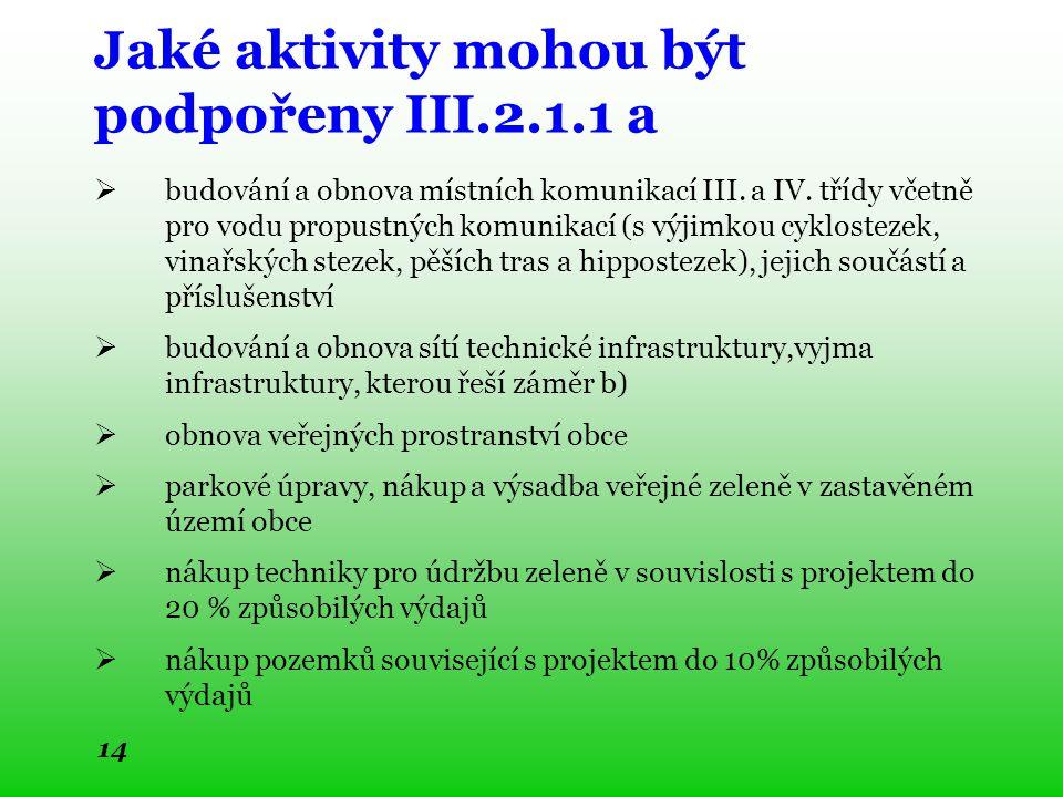 Jaké aktivity mohou být podpořeny III.2.1.1 a  budování a obnova místních komunikací III.