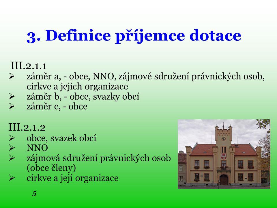 5 3. Definice příjemce dotace III.2.1.1  záměr a, - obce, NNO, zájmové sdružení právnických osob, církve a jejich organizace  záměr b, - obce, svazk