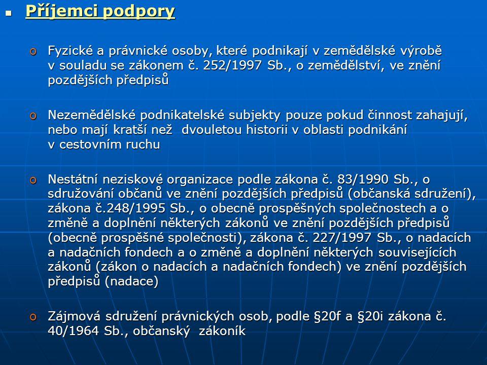 Příjemci podpory Příjemci podpory oFyzické a právnické osoby, které podnikají v zemědělské výrobě v souladu se zákonem č.
