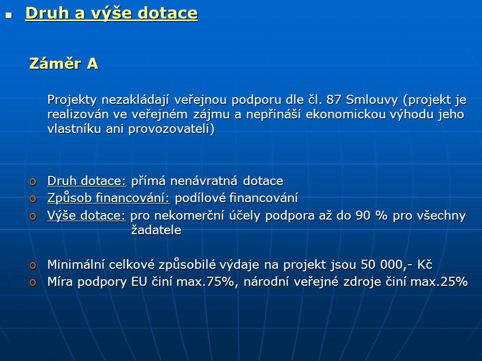 Druh a výše dotace Druh a výše dotace Záměr A Projekty nezakládají veřejnou podporu dle čl.