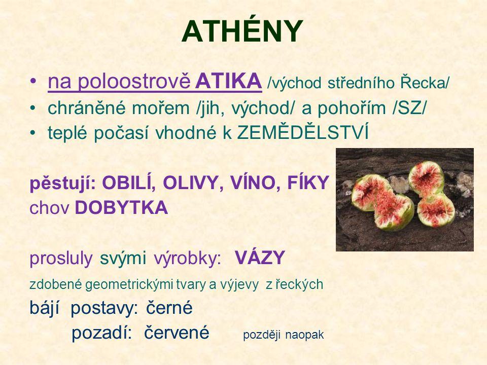 ATHÉNY na poloostrově ATIKA /východ středního Řecka/ chráněné mořem /jih, východ/ a pohořím /SZ/ teplé počasí vhodné k ZEMĚDĚLSTVÍ pěstují: OBILÍ, OLIVY, VÍNO, FÍKY chov DOBYTKA prosluly svými výrobky: VÁZY zdobené geometrickými tvary a výjevy z řeckých bájí postavy: černé pozadí: červené později naopak