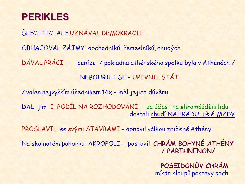 PERIKLES ŠLECHTIC, ALE UZNÁVAL DEMOKRACII OBHAJOVAL ZÁJMY obchodníků, řemeslníků, chudých DÁVAL PRÁCI peníze / pokladna athénského spolku byla v Athén