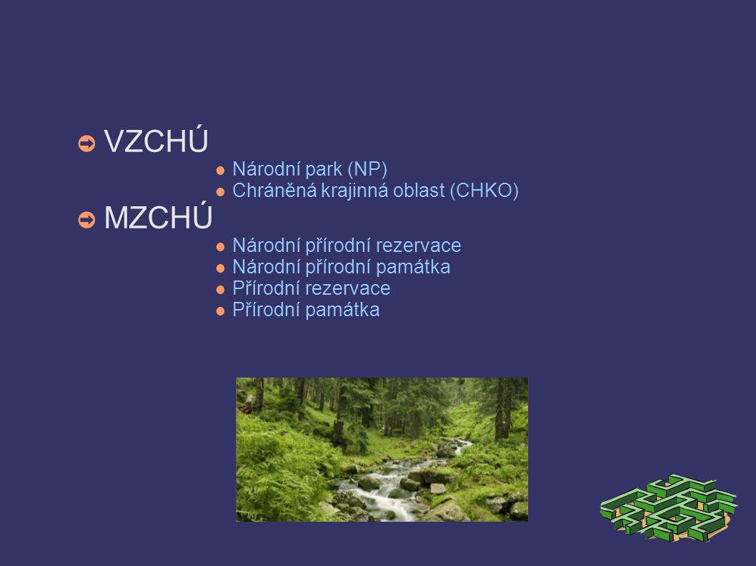 ➲ VZCHÚ Národní park (NP) Chráněná krajinná oblast (CHKO) ➲ MZCHÚ Národní přírodní rezervace Národní přírodní památka Přírodní rezervace Přírodní památka
