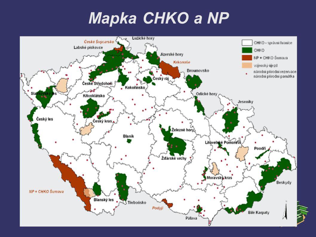 Mapka CHKO a NP