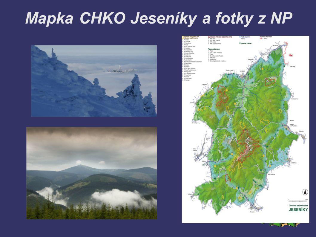 Mapka CHKO Jeseníky a fotky z NP