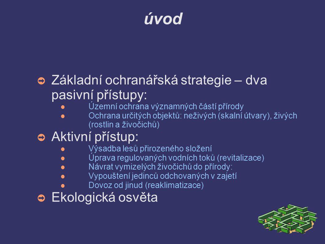 úvod ➲ Základní ochranářská strategie – dva pasivní přístupy: Územní ochrana významných částí přírody Ochrana určitých objektů: neživých (skalní útvary), živých (rostlin a živočichů) ➲ Aktivní přístup: Výsadba lesů přirozeného složení Úprava regulovaných vodních toků (revitalizace) Návrat vymizelých živočichů do přírody: Vypouštení jedinců odchovaných v zajetí Dovoz od jinud (reaklimatizace) ➲ Ekologická osvěta