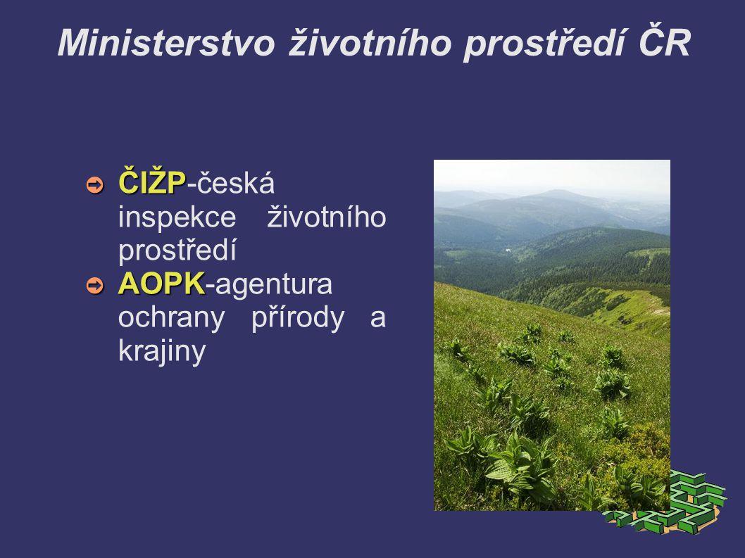 Ministerstvo životního prostředí ČR ➲ ČIŽP ➲ ČIŽP-česká inspekce životního prostředí ➲ AOPK ➲ AOPK-agentura ochrany přírody a krajiny