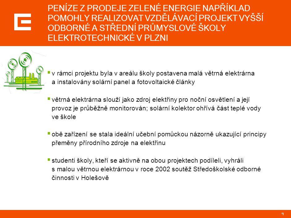 9 PENÍZE Z PRODEJE ZELENÉ ENERGIE NAPŘÍKLAD POMOHLY REALIZOVAT VZDĚLÁVACÍ PROJEKT VYŠŠÍ ODBORNÉ A STŘEDNÍ PRŮMYSLOVÉ ŠKOLY ELEKTROTECHNICKÉ V PLZNI 