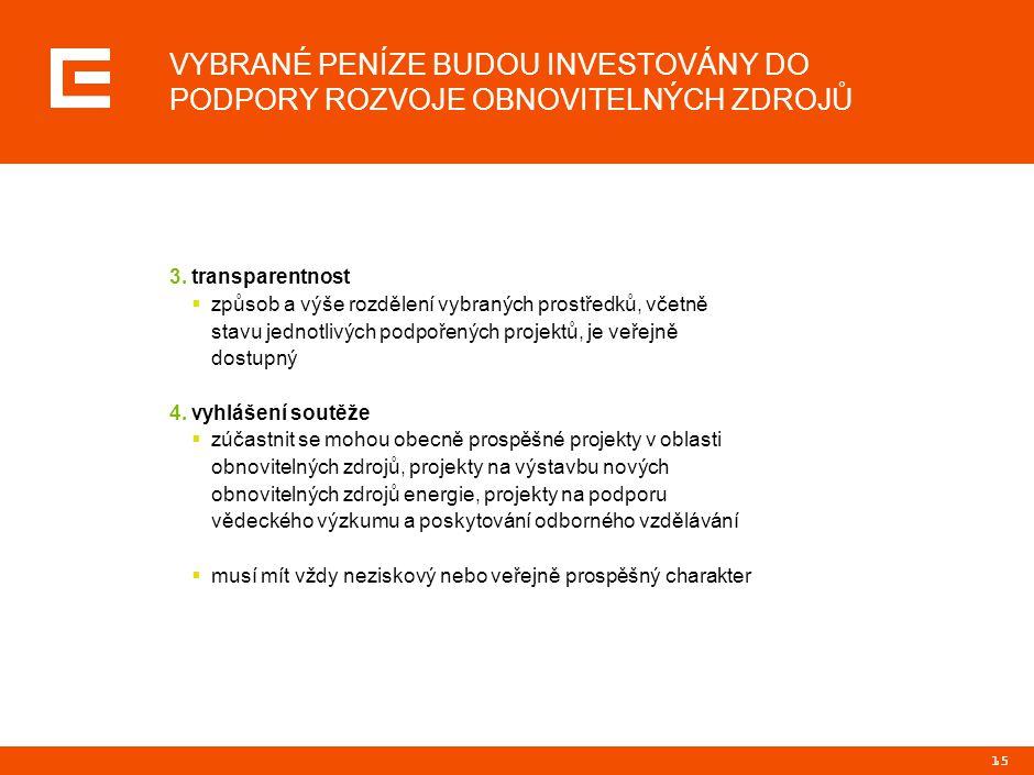15 VYBRANÉ PENÍZE BUDOU INVESTOVÁNY DO PODPORY ROZVOJE OBNOVITELNÝCH ZDROJŮ 3.transparentnost  způsob a výše rozdělení vybraných prostředků, včetně s