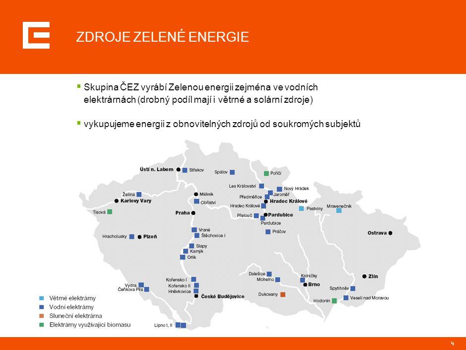 4 ZDROJE ZELENÉ ENERGIE  Skupina ČEZ vyrábí Zelenou energii zejména ve vodních elektrárnách (drobný podíl mají i větrné a solární zdroje)  vykupujem