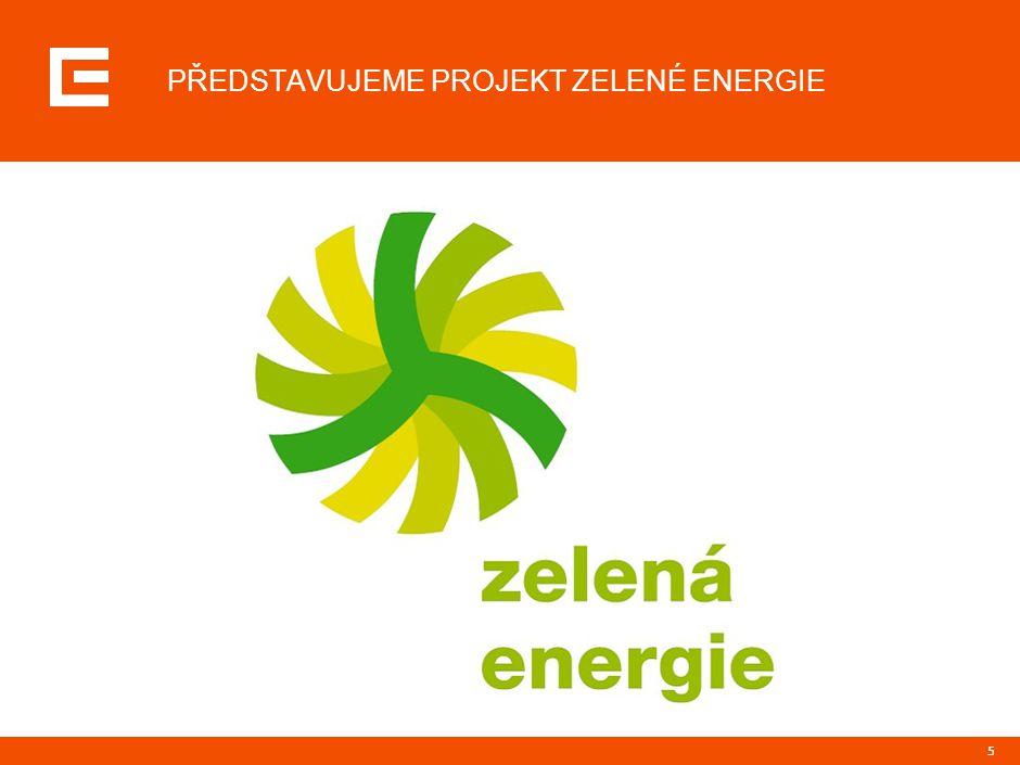 """6 CHARAKTERISTIKA PROJEKTU ZELENÉ ENERGIE Zelená energie = elektřina získaná z obnovitelných zdrojů (voda, vítr, slunce, geotermální zdroje)  vlastní výroba Skupiny ČEZ  nákup od výrobců z regionu Skupiny ČEZ Motivace vzniku produktu  nabídka produktu s přidanou hodnotou pro odběratele i veřejnost  podpora ekologie a společenská zodpovědnost Obsah produktu  podpora prodeje elektřiny vyrobené z obnovitelných zdrojů Cena Zelené energie  hlavní rozdíl od """"běžné elektřiny – symbolický příspěvek pro další rozvoj ekologické výroby elektřiny + 0,10 Kč/kWh ke kterékoli sazbě"""