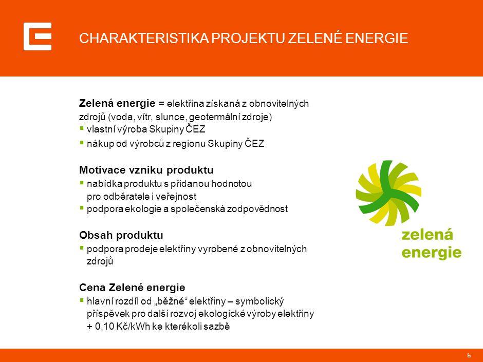 6 CHARAKTERISTIKA PROJEKTU ZELENÉ ENERGIE Zelená energie = elektřina získaná z obnovitelných zdrojů (voda, vítr, slunce, geotermální zdroje)  vlastní