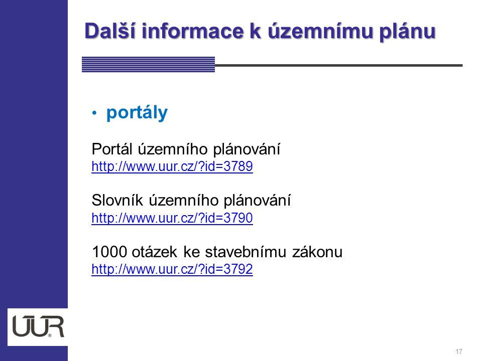 Další informace k územnímu plánu 17 portály Portál územního plánování http://www.uur.cz/?id=3789 Slovník územního plánování http://www.uur.cz/?id=3790