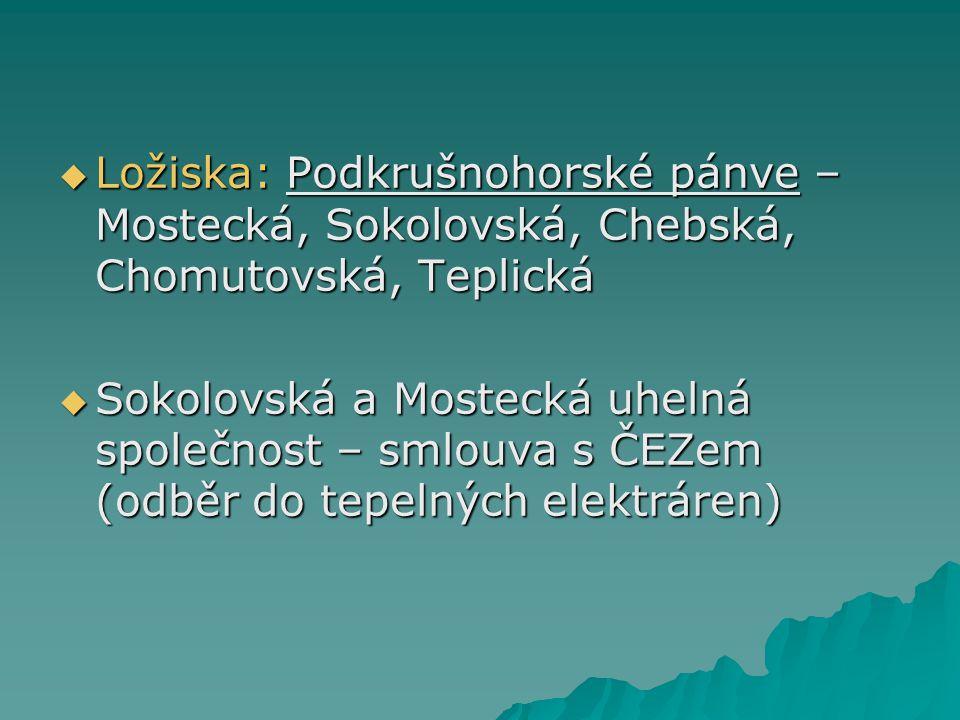  Ložiska: Podkrušnohorské pánve – Mostecká, Sokolovská, Chebská, Chomutovská, Teplická  Sokolovská a Mostecká uhelná společnost – smlouva s ČEZem (o