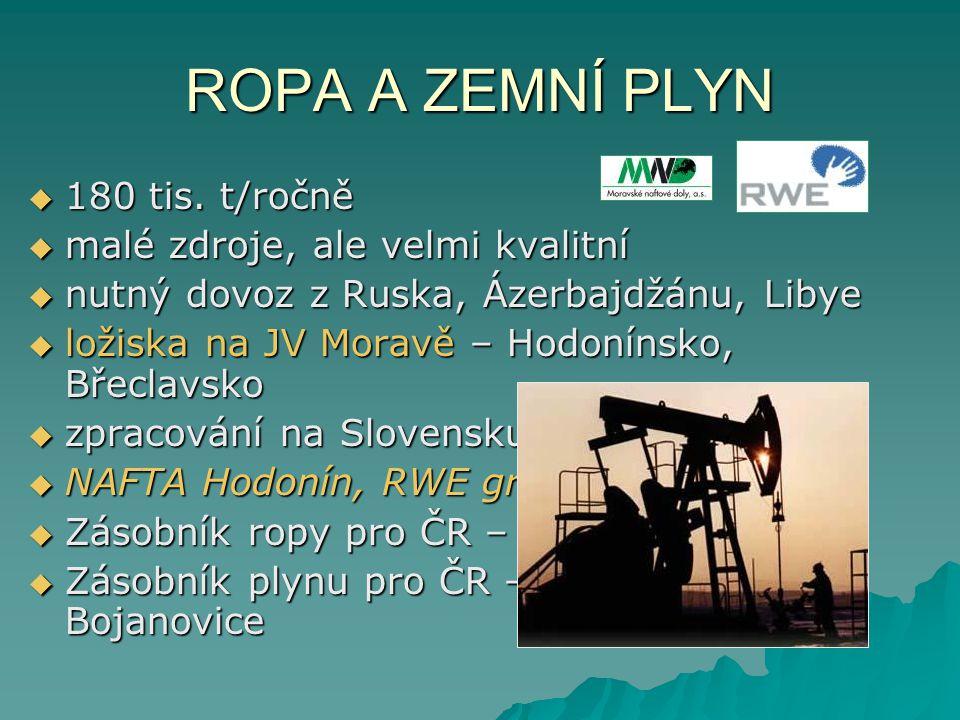 ROPA A ZEMNÍ PLYN  180 tis. t/ročně  malé zdroje, ale velmi kvalitní  nutný dovoz z Ruska, Ázerbajdžánu, Libye  ložiska na JV Moravě – Hodonínsko,