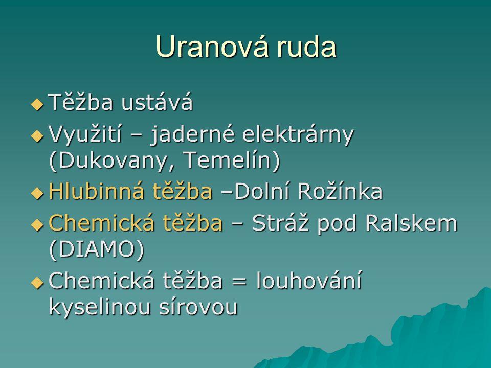 Uranová ruda  Těžba ustává  Využití – jaderné elektrárny (Dukovany, Temelín)  Hlubinná těžba –Dolní Rožínka  Chemická těžba – Stráž pod Ralskem (D