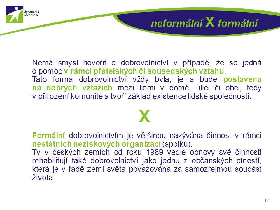 10 neformální X formální Nemá smysl hovořit o dobrovolnictví v případě, že se jedná o pomoc v rámci přátelských či sousedských vztahů. Tato forma dobr