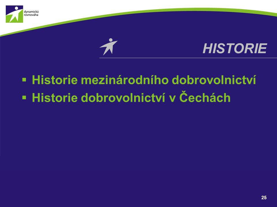  Historie mezinárodního dobrovolnictví  Historie dobrovolnictví v Čechách HISTORIE 25