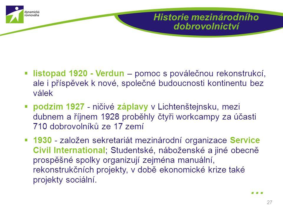 27 Historie mezinárodního dobrovolnictví  listopad 1920 - Verdun – pomoc s poválečnou rekonstrukcí, ale i příspěvek k nové, společné budoucnosti kont