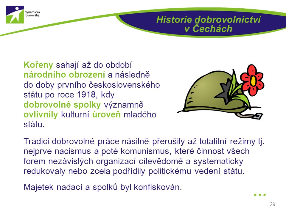 29 Historie dobrovolnictví v Čechách Kořeny sahají až do období národního obrození a následně do doby prvního československého státu po roce 1918, kdy