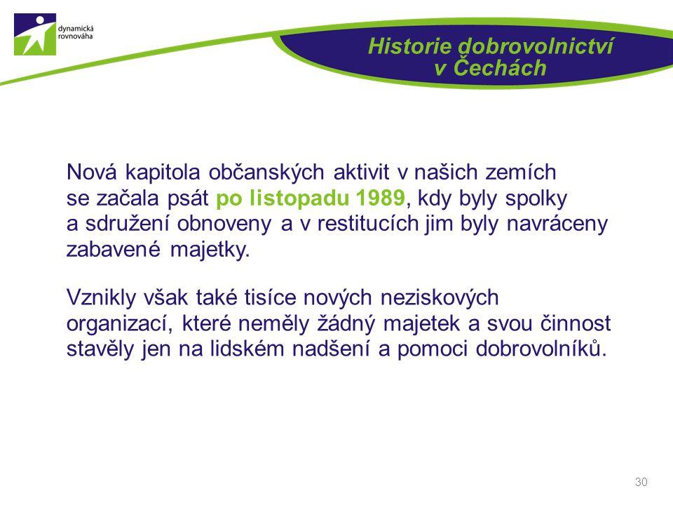 30 Historie dobrovolnictví v Čechách Nová kapitola občanských aktivit v našich zemích se začala psát po listopadu 1989, kdy byly spolky a sdružení obn
