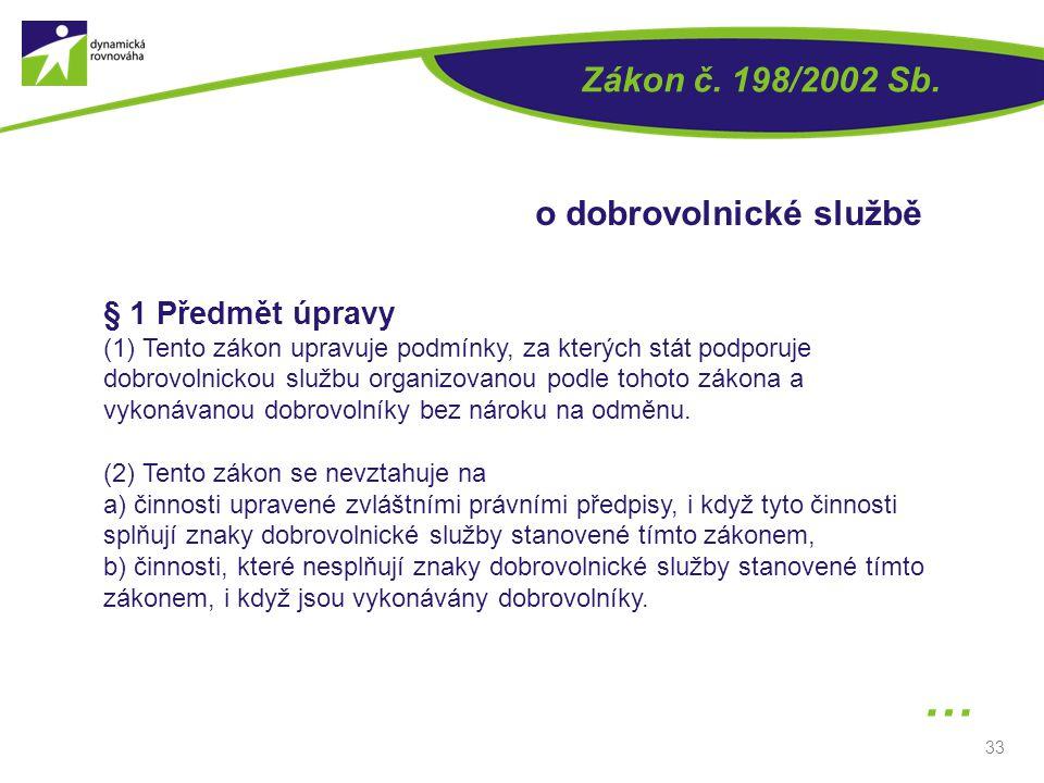 33 § 1 Předmět úpravy (1) Tento zákon upravuje podmínky, za kterých stát podporuje dobrovolnickou službu organizovanou podle tohoto zákona a vykonávan