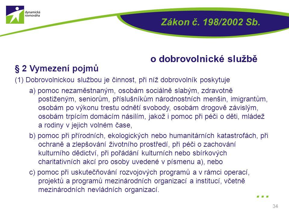34 § 2 Vymezení pojmů (1) Dobrovolnickou službou je činnost, při níž dobrovolník poskytuje a) pomoc nezaměstnaným, osobám sociálně slabým, zdravotně p