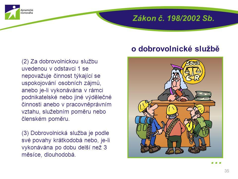 35 (2) Za dobrovolnickou službu uvedenou v odstavci 1 se nepovažuje činnost týkající se uspokojování osobních zájmů, anebo je-li vykonávána v rámci po